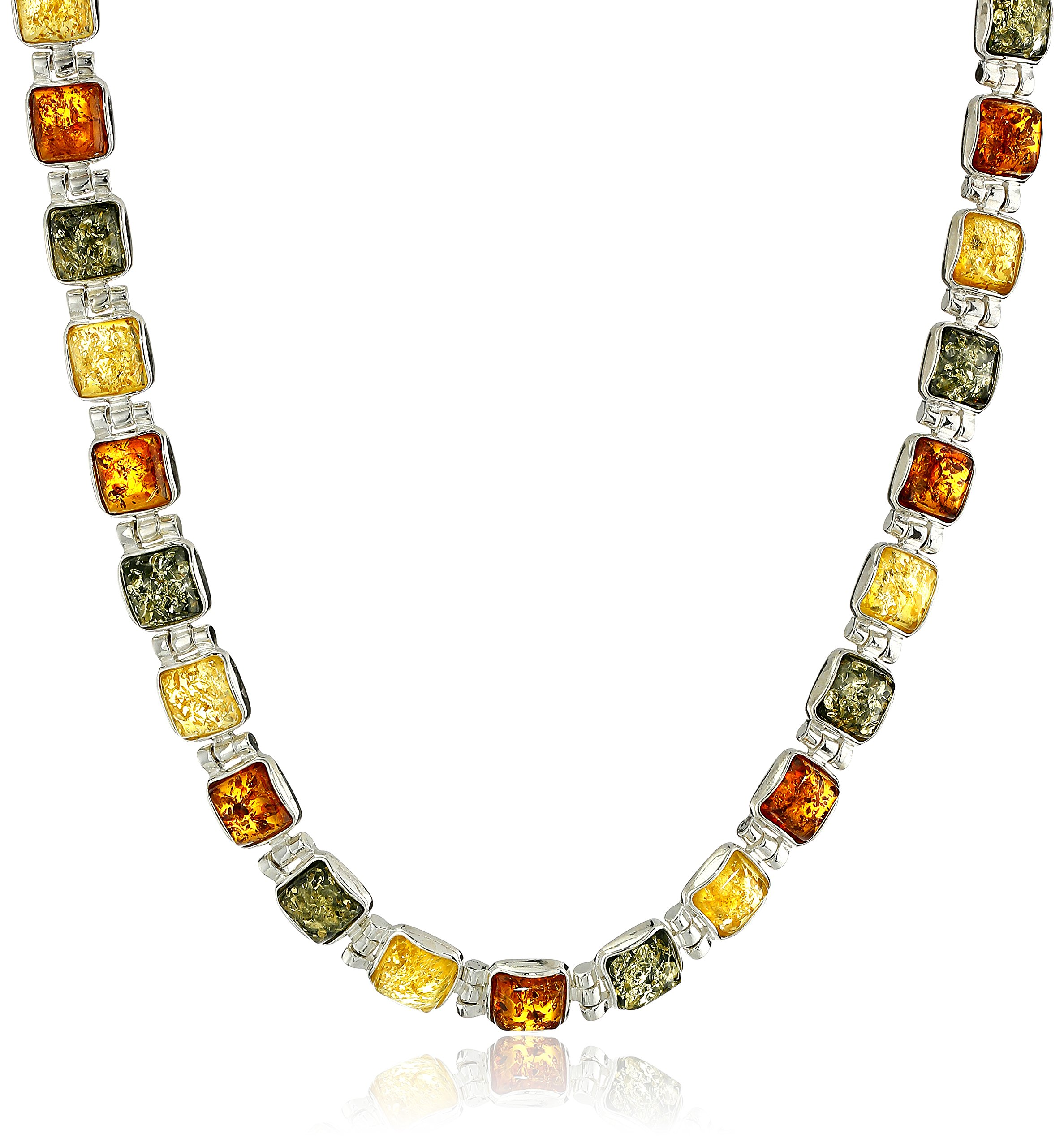 Sterling Silver Multi-Color Amber Necklace, 17''
