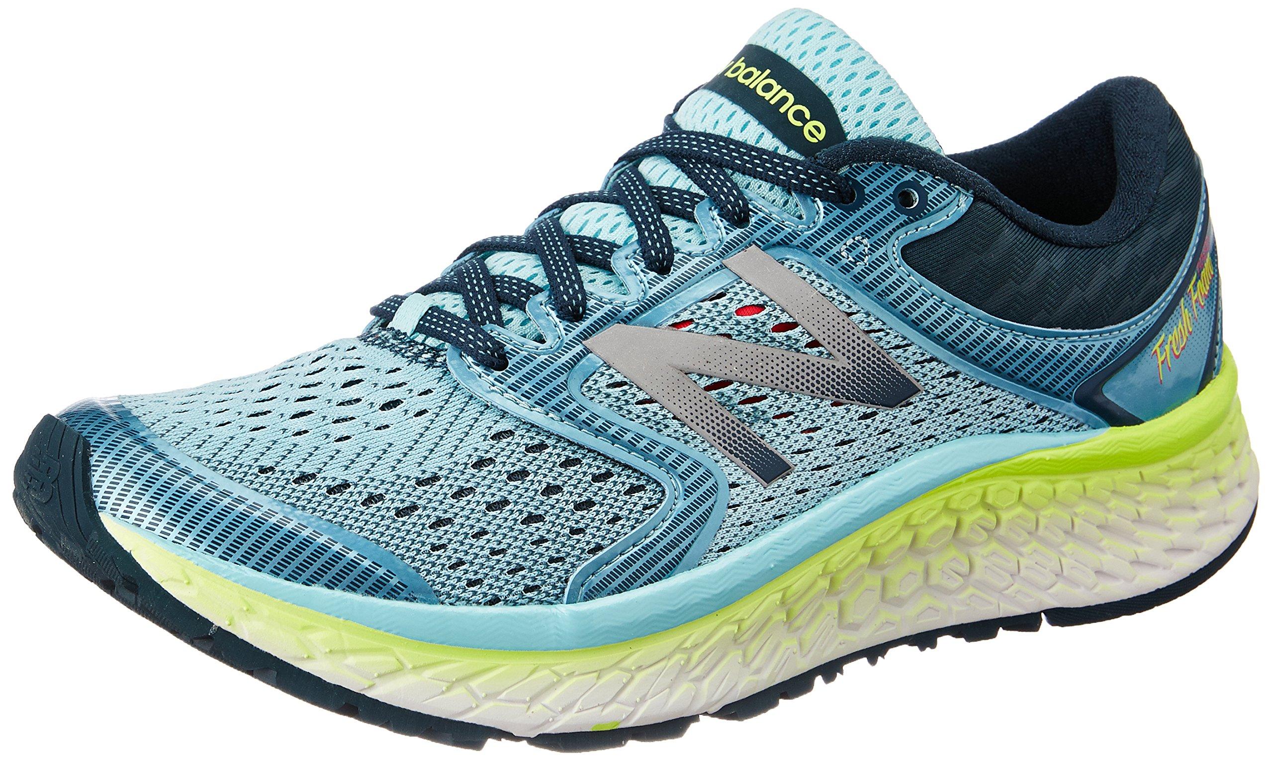 New Balance Women's W1080V7 Running Shoe, Ozone Blue Glow/Lime Glow, 12 D US