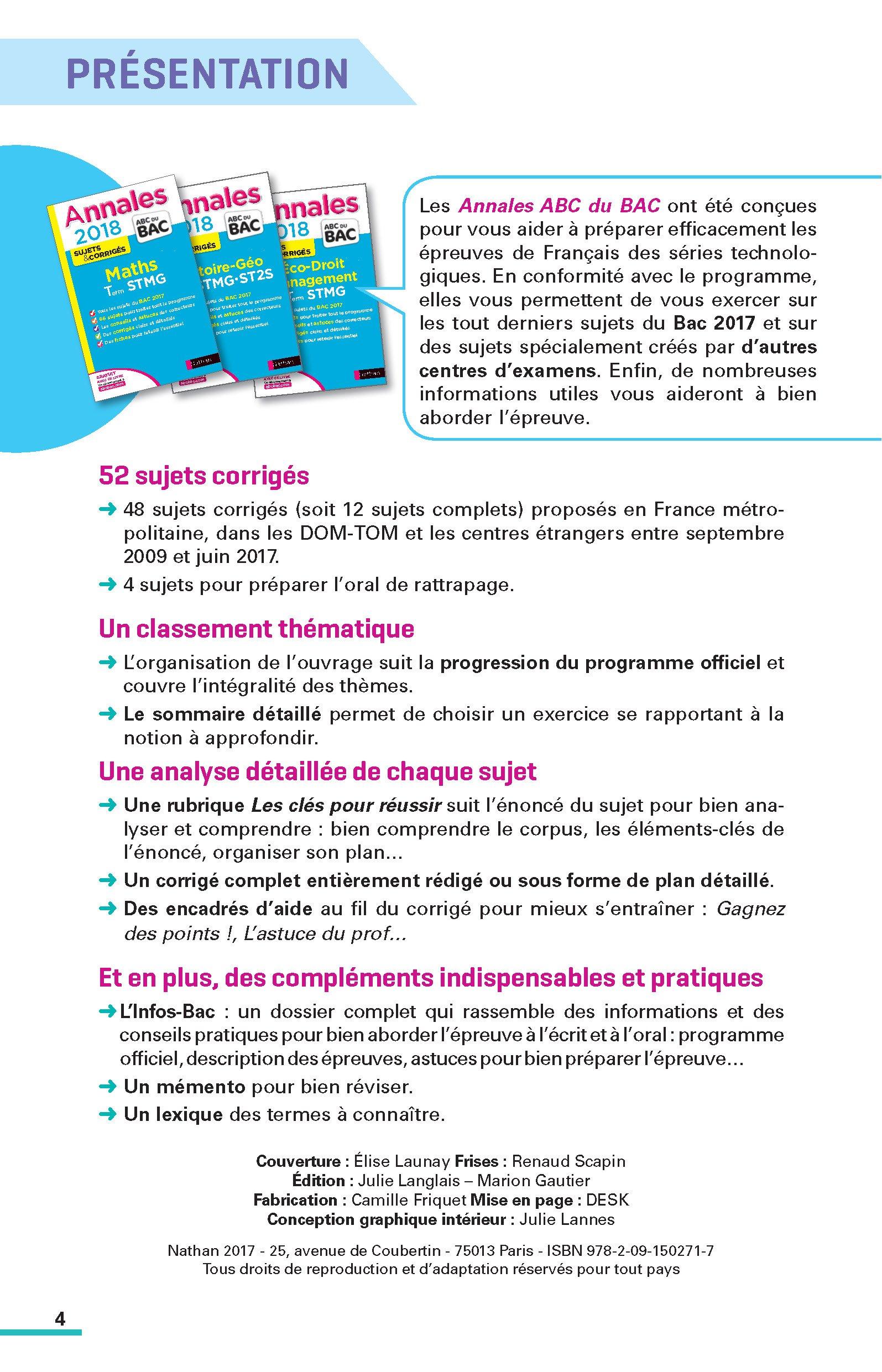Français 1re séries technologiques : Sujets & corrigés: 9782091502717: Amazon.com: Books