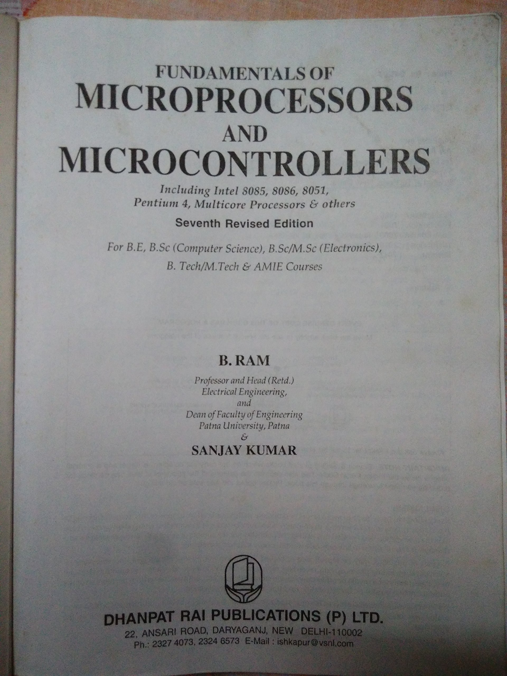 Fundamentals Of Microprocessors And Microcomputers By B.ram Pdf