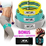 Booty Builder Bands | Set of 3 Hip Band Circle Loop for Women & Men | Thick Resistance Bands for Legs and Butt | Full Body Workout Exercise for All Fitness Levels | No Gym Needed | FREE Wrist Wraps