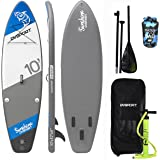 DVSPORT Inflatable 10` Stand Up Paddle Board(5 Inches Thick)| Double layers Complete Package ISUP| Includes Adjustable Aluminum Paddle|Travel Backpack|BRAVO Double Function Hand Pump| Water Proof Bag