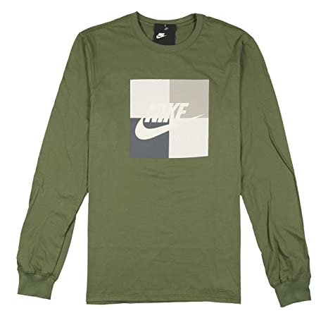 Image Unavailable. Image not available for. Color  Nike Men s Air Boxed  Blocked Long Sleeve Shirt Large Olive Green Gray ... c6cb3503a