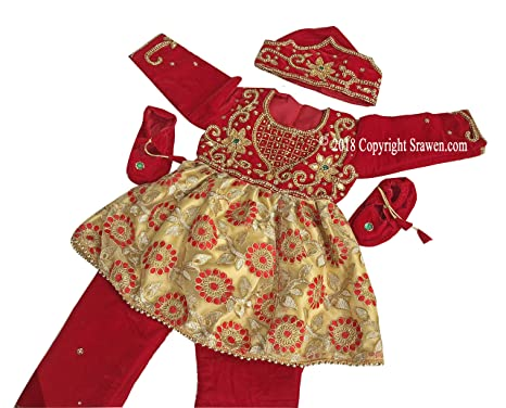 5059ed943 Image Unavailable. Image not available for. Color: Srawen Pasni Dress/Set  Nepali annaprasan Ceremony/Rice Feeding Baby Girl or Boy Dress