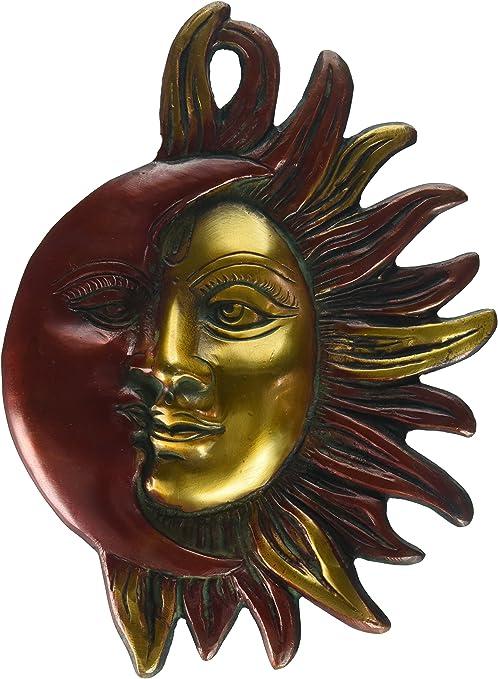CraftVatika God Sun Brass Wall Hanging Sculpture God Sun Figurine Garden Home Decor Handmade Brass Art