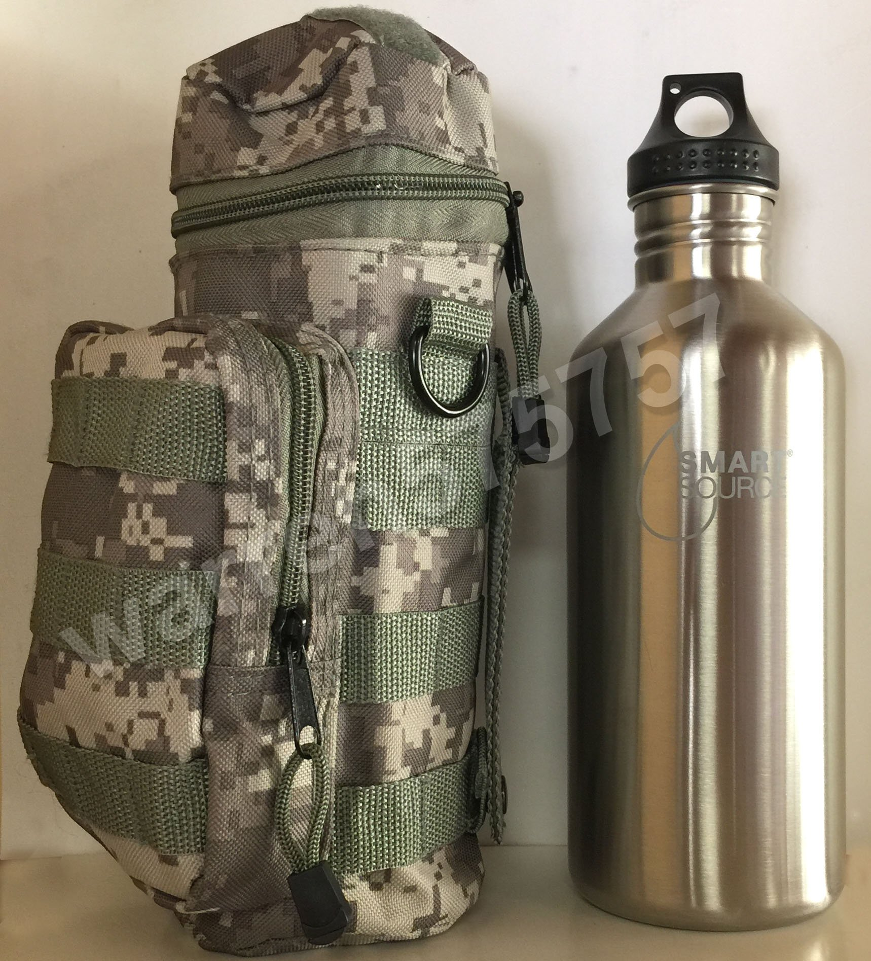 NEW SMART SOURCE WATER BOTTLE 40oz/1182ml SINGLE-WALL. With New Digital Camo Water Bottle MOLLE POUCH from Extreme Pak. by G.A.K