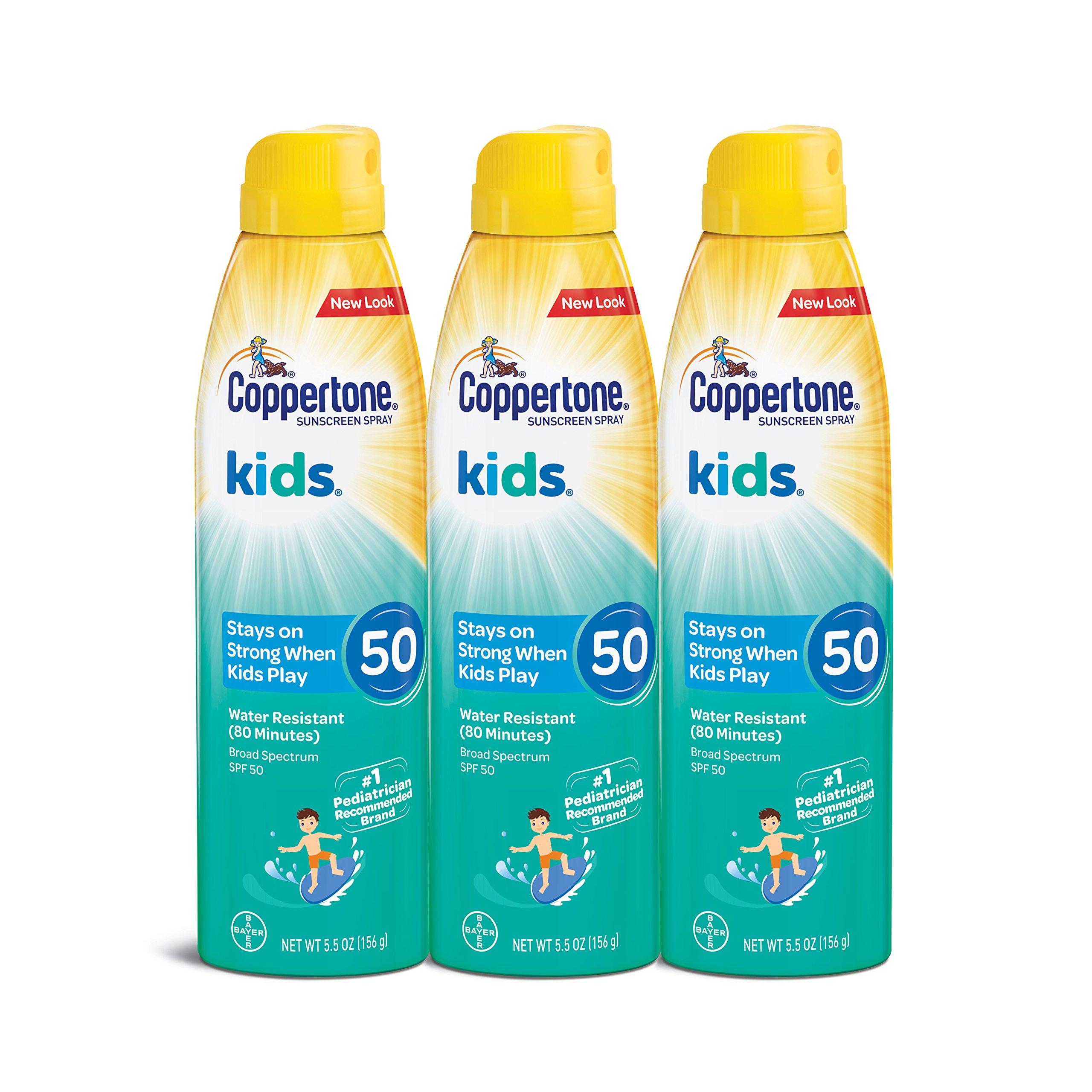 Coppertone KIDS Sunscreen Continuous Spray SPF 50 (5.5-Ounce, Pack of 3) Packaging may vary by Coppertone