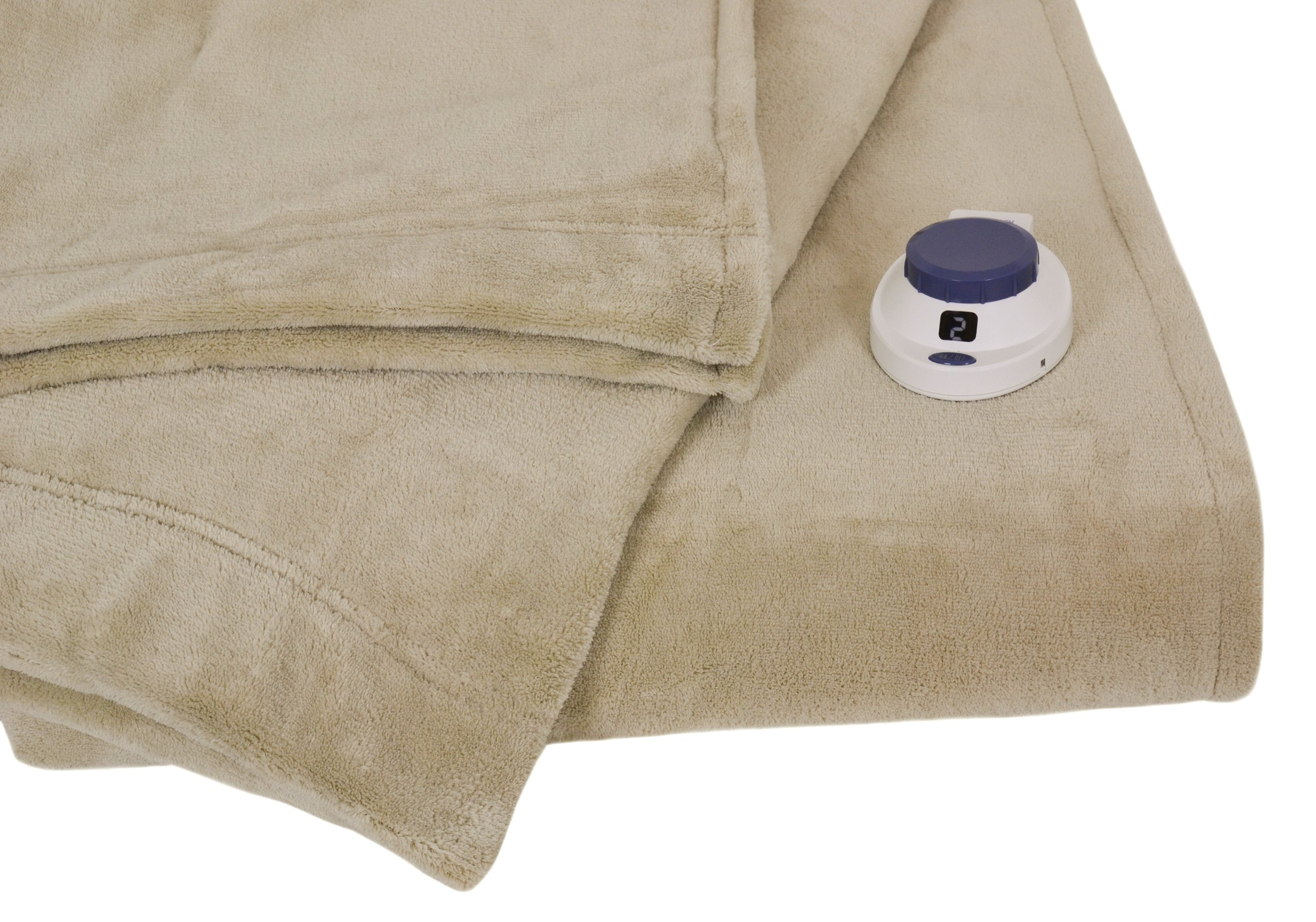 Serta Luxe Plush Low-Voltage Electric Heated Micro-Fleece Blanket, Full, Pearl by Serta