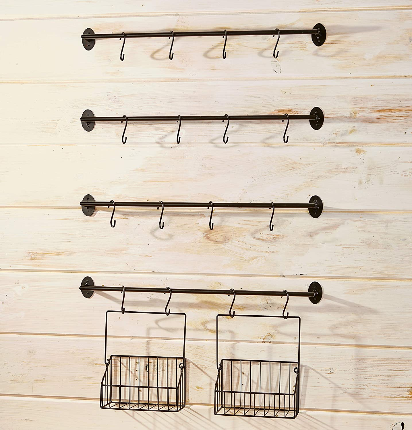 Amazon Com The Lakeside Collection Wall Rack For Coffee Mugs Tea Cups With Industrial Pipe Style 6 Pieces