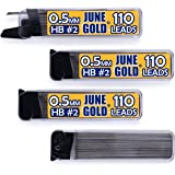 June Gold 440 Pieces, 0.5 mm HB #2 Lead Refills, 110 Pieces Per Tube, Fine Thickness, Break Resistant Lead/Graphite (Pack of