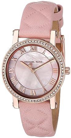 335a1dde72d0 Amazon.com  Michael Kors Women s Stainless Steel Analog-Quartz Watch with  Leather Calfskin Strap