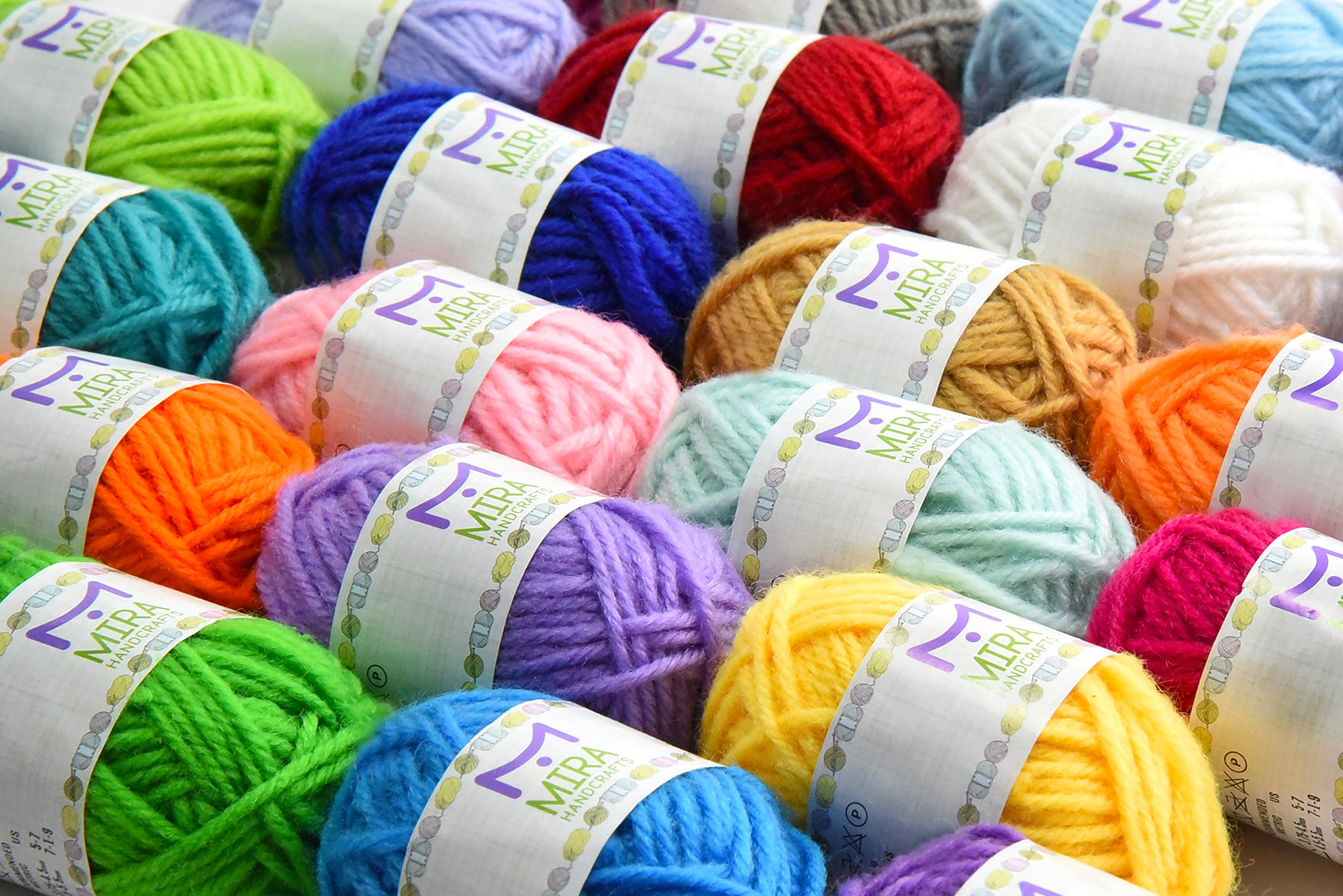 Mira Handcrafts 24 Acrylic Yarn Bonbons | Total of 525 Yards Craft Yarn for Knitting and Crochet | Includes 2 Crochet Hooks, 2 Weaving Needles, 7 E-Books | DK Yarn | Perfect Beginner Kit by Mira HandCrafts (Image #5)