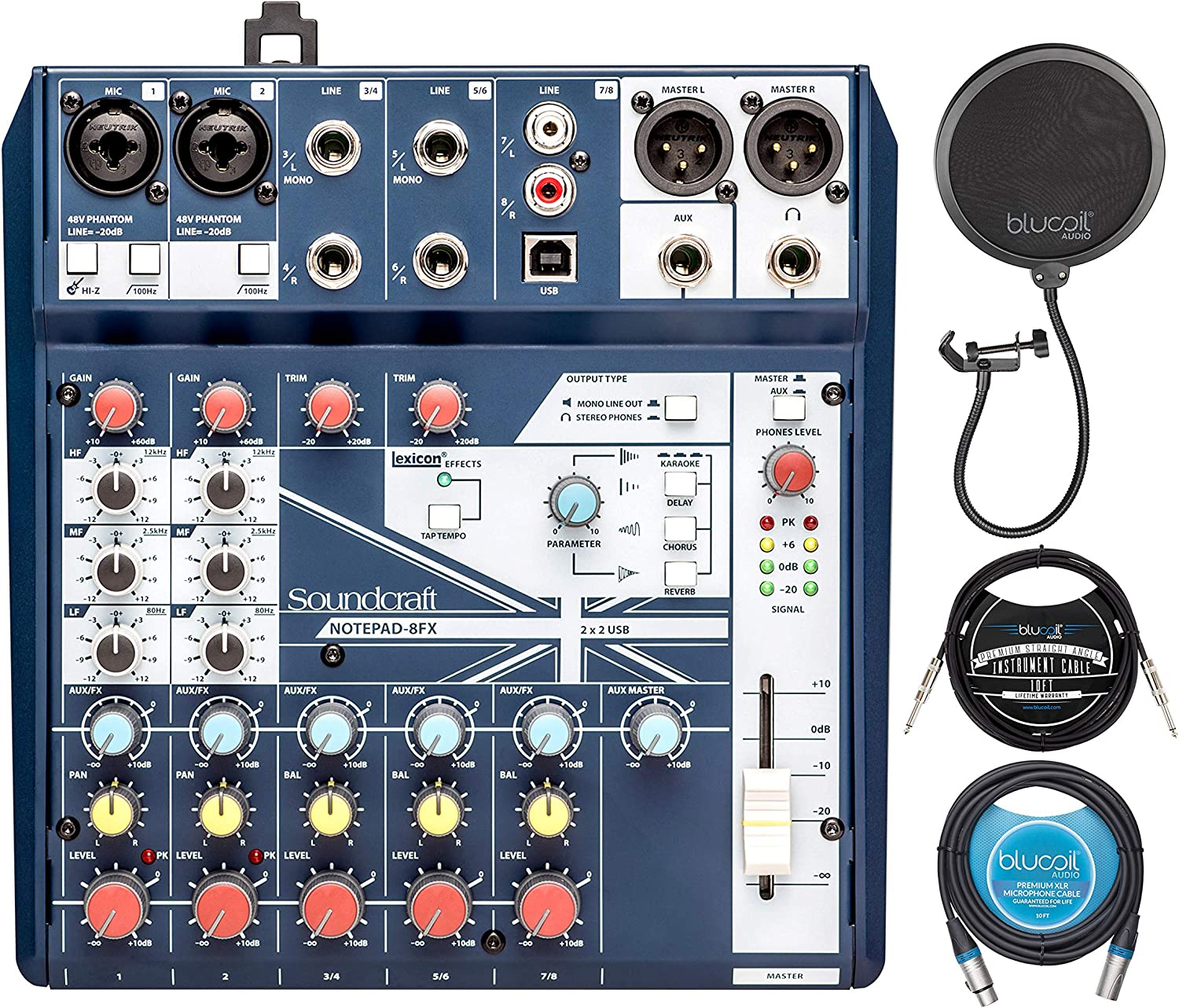 10-FT Balanced XLR Cable Soundcraft Notepad-8FX Mixer with Effects for Windows and Mac Bundle with Blucoil Pop Filter Windscreen and 10-FT Straight Instrument Cable 1//4in