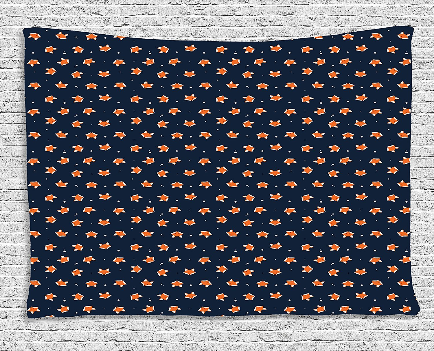 asddcdfdd Fox Tapestry, Orange Small Forest Animal Portraits Pattern on Abstract Dotted Blue Backdrop, Wall Hanging for Bedroom Living Room Dorm, 80 W X 60 L Inches, Navy Blue Orange