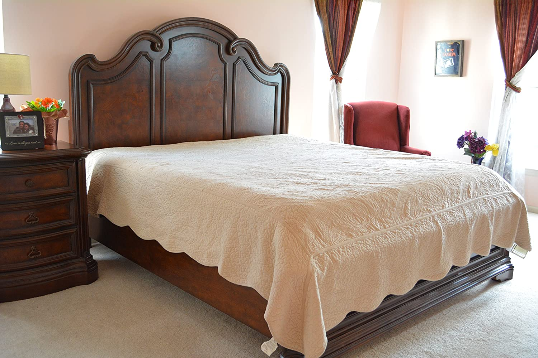 Tache Home Fashion DXJ109042-1F Beige Ivory Magic Carpet Matelasse Super Soft Plush Warm Bedspread Quilt Coverlet Set, Full, Tan