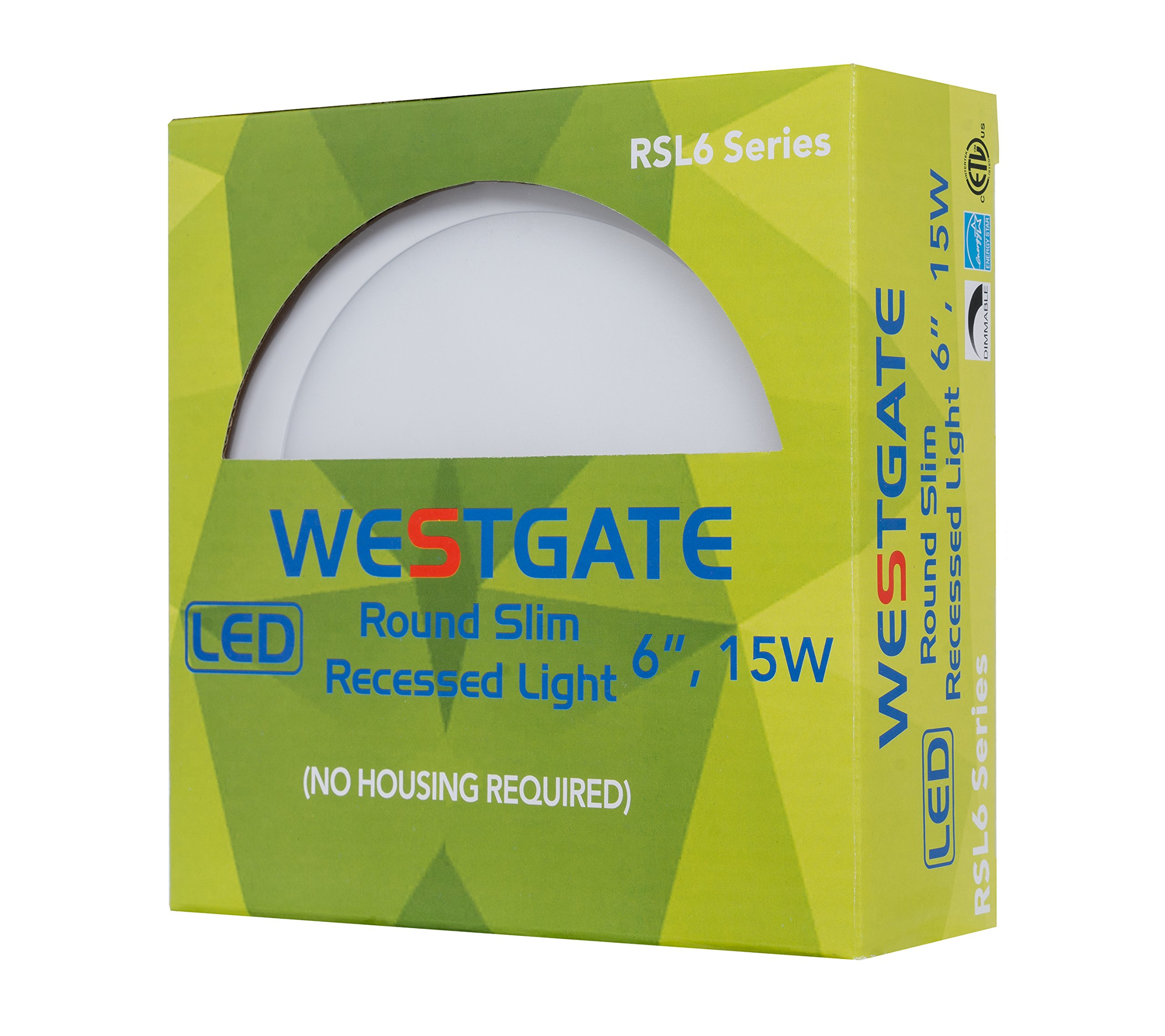 Westgate Lighting 15W 6'' Inch Ultra Thin Slim LED Recessed Light - Dimmable Retrofit Downlight Smooth Trim - Junction Box Included - No Housing Required - Ceiling Lights (8 Pack, 3000K Soft White) by Westgate (Image #8)