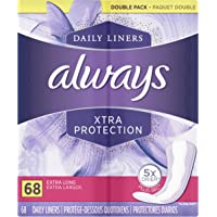 Always Xtra Protection Daily Liners, Extra Long, 272 Count(Pack of 4)