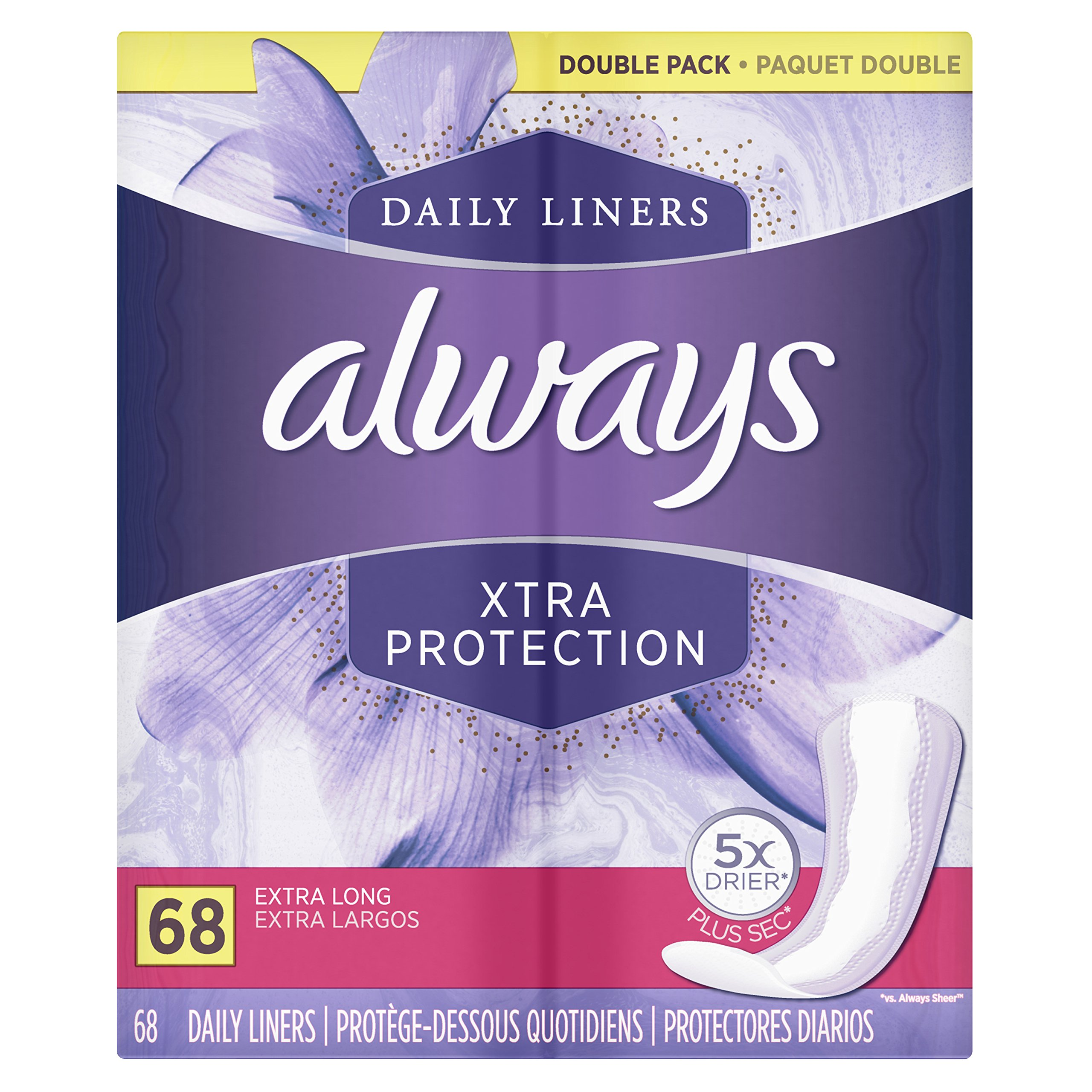 Always Xtra Protection Daily Liners, Extra Long Feminine Panty Liners, 68 Count - Pack of 4 (272 Total Count) by Always (Image #7)