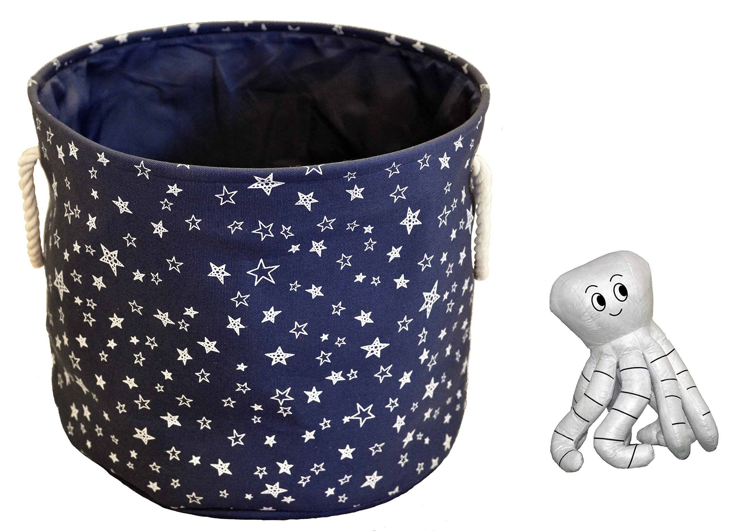 Basket & Toy Combo - Large Eco-Friendly Canvas Toy Storage Baskets Storage Bins Nursery Bins with Handles (Navy Blue) & Octopus Coloring Kitby Cobei Homegoods by Cobei Homegoods