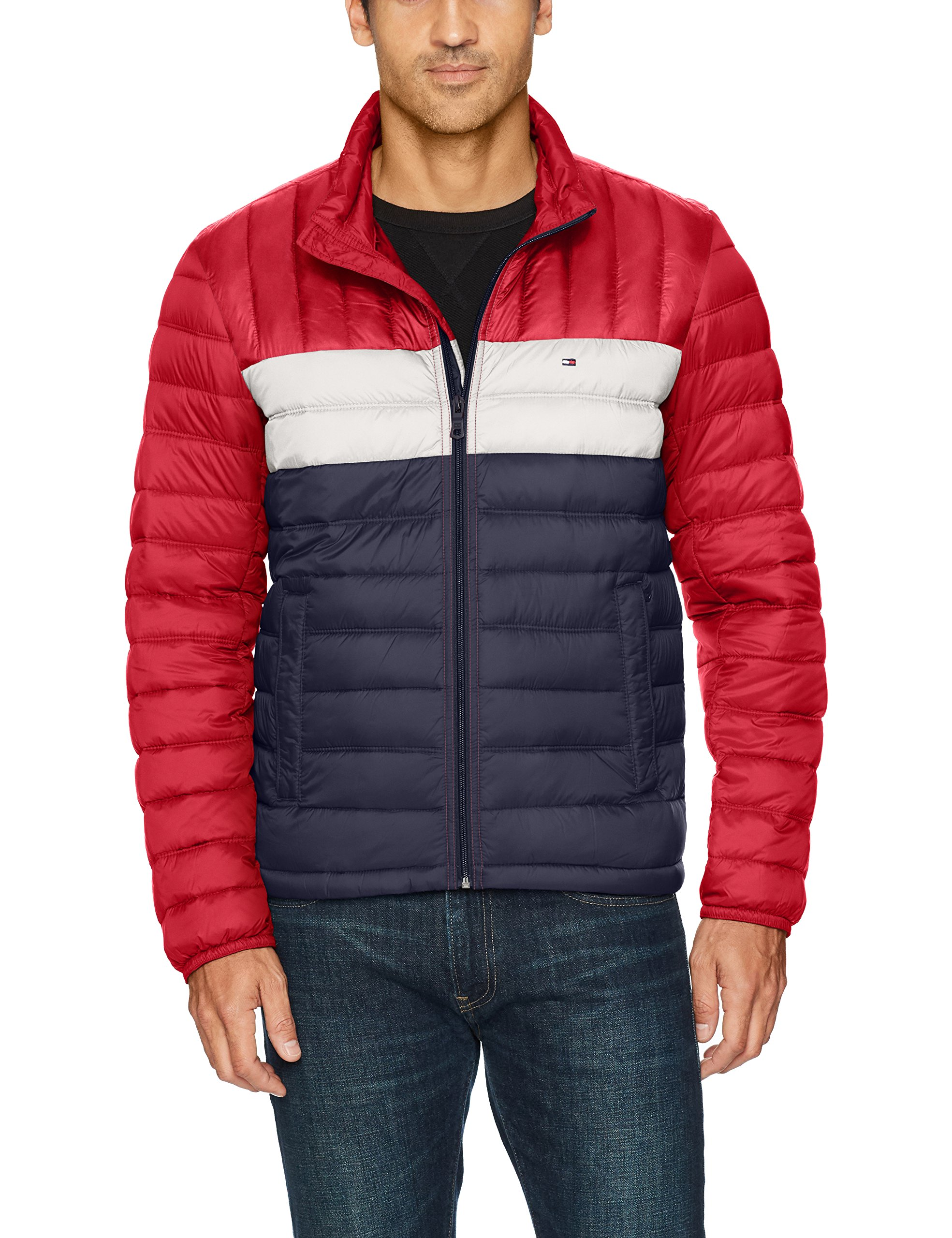 Tommy Hilfiger Men's Packable Down Jacket (Regular and Big & Tall Sizes), Red/White/Midnight, Small