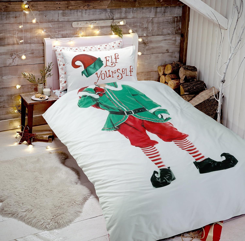 Elf Yourself Selfie Christmas Xmas Duvet Quilt Cover & Pillowcase