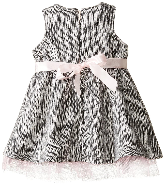 Andy /& Evan Baby Girls Black and White Herringbone Dress