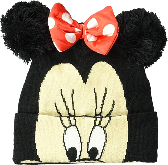 Disney Minnie Mouse Girls Warm Winter Chenille Yarn Knitted Beanie Style Hat with Pompom Sequins 2-8 Years