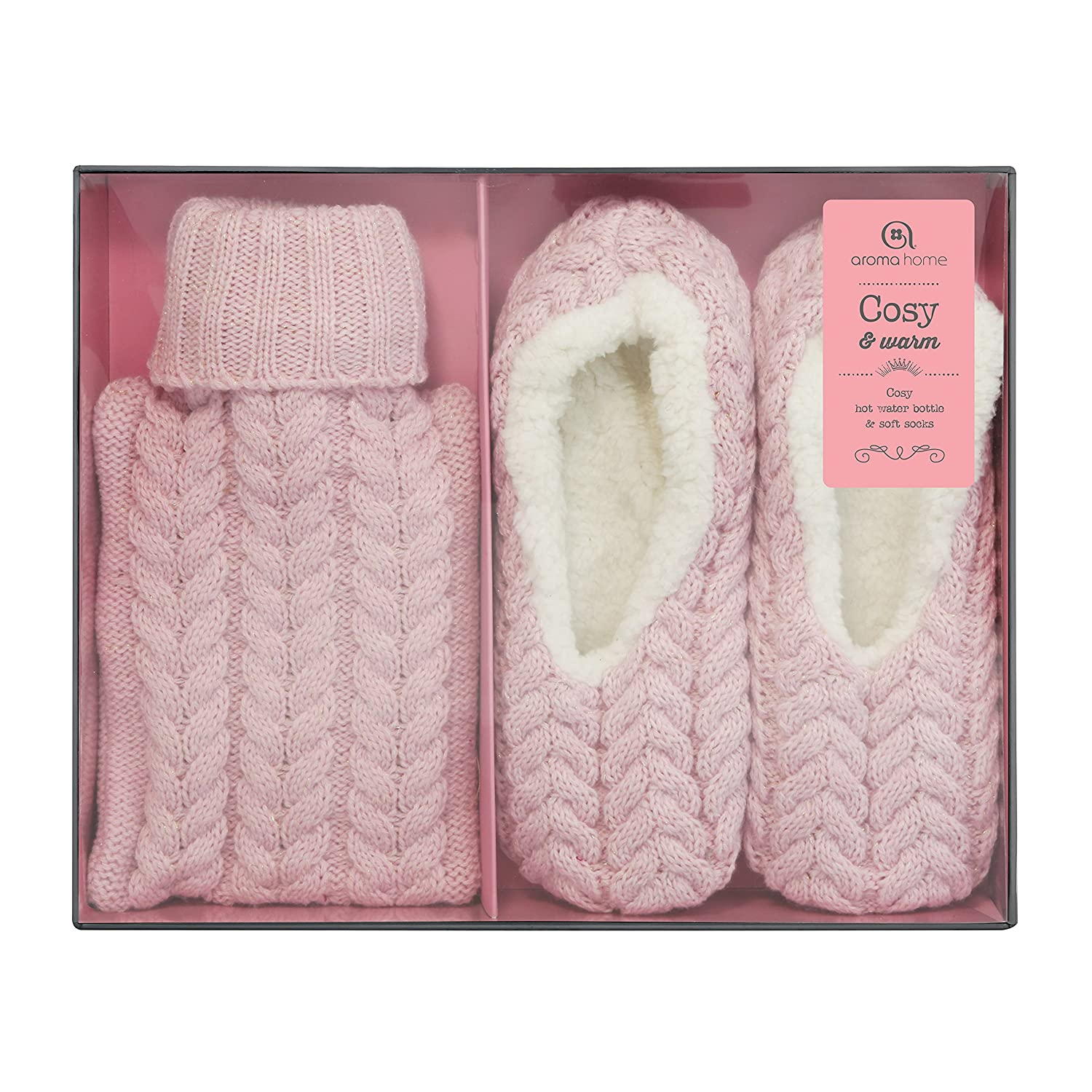 2d88d609edb1 Details about Aroma Home 01 Mini Hot Water Bottle   Cosy Slippers - SLIPPK