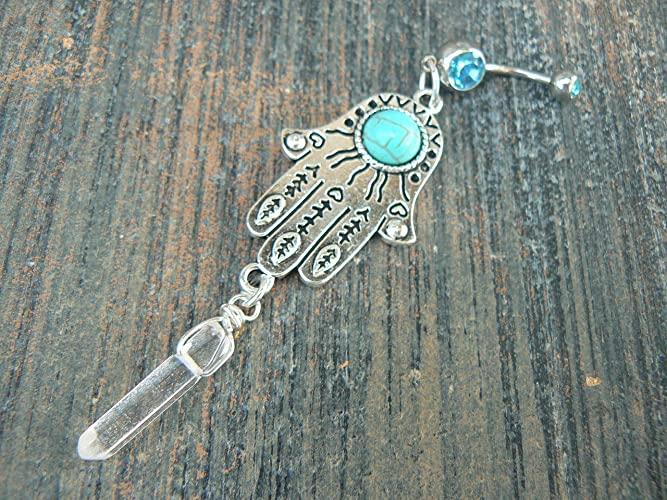 Amazon Com Hamsa Hand Belly Button Ring Quartz Crystal Evil Eye