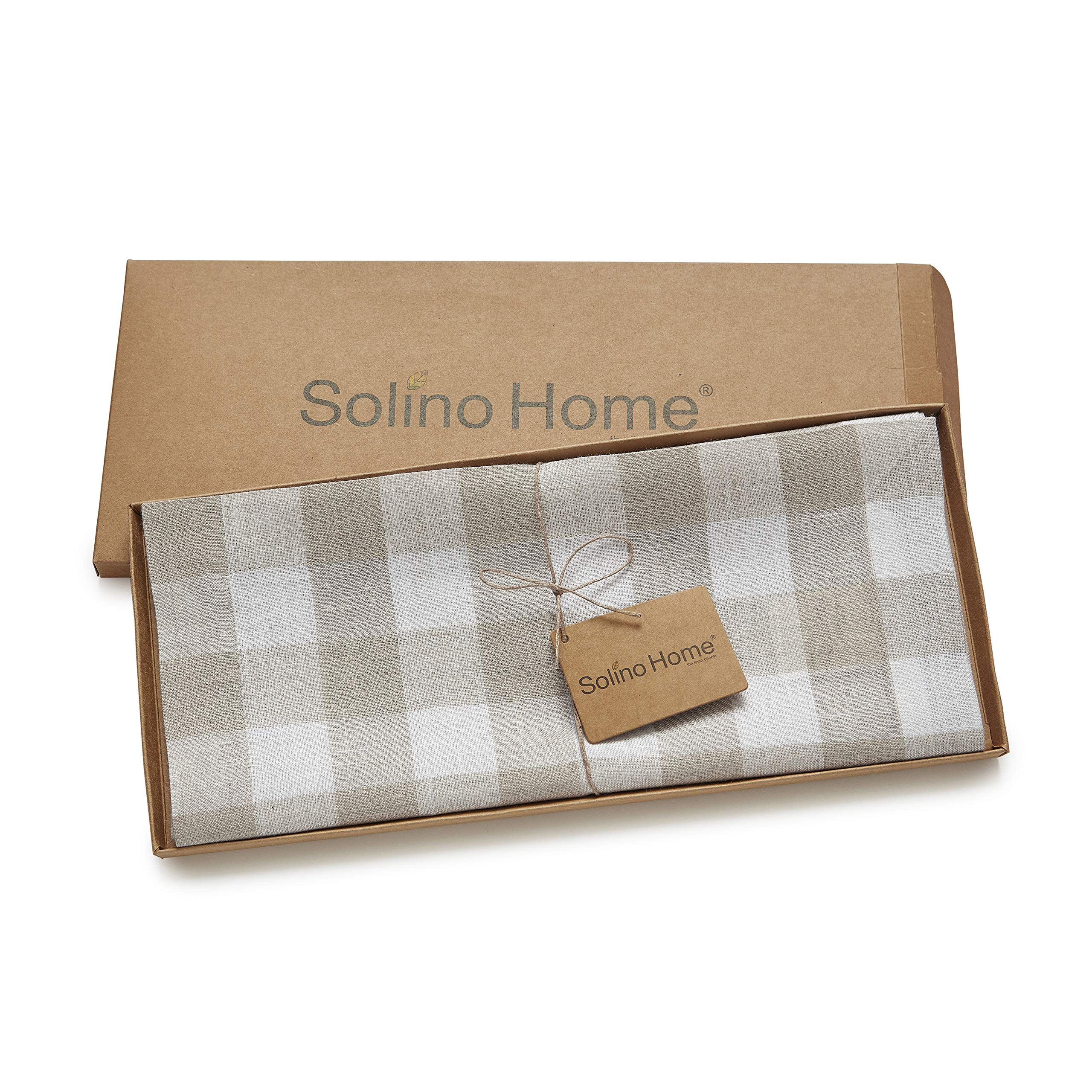 Solino Home 100% Pure Linen Checks Table Runner - Natural & White Check Table Runner - 14 x 72 Inch Runner for Dinner, Indoor and Outdoor Use by Solino Home (Image #5)