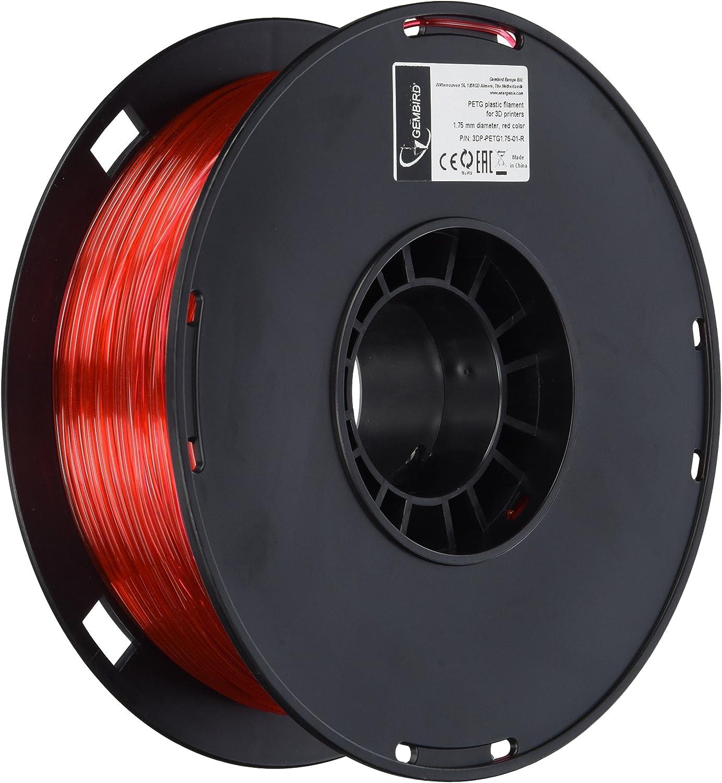 Gembird 3DP-PETG1.75-01-R PLA Filamento para impresora 3D, 1,75 mm ...