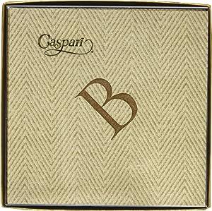 Caspari 9760CG.B Natural Jute Paper Linen Boxed Cocktail Napkins in Letter B - Pack of 30