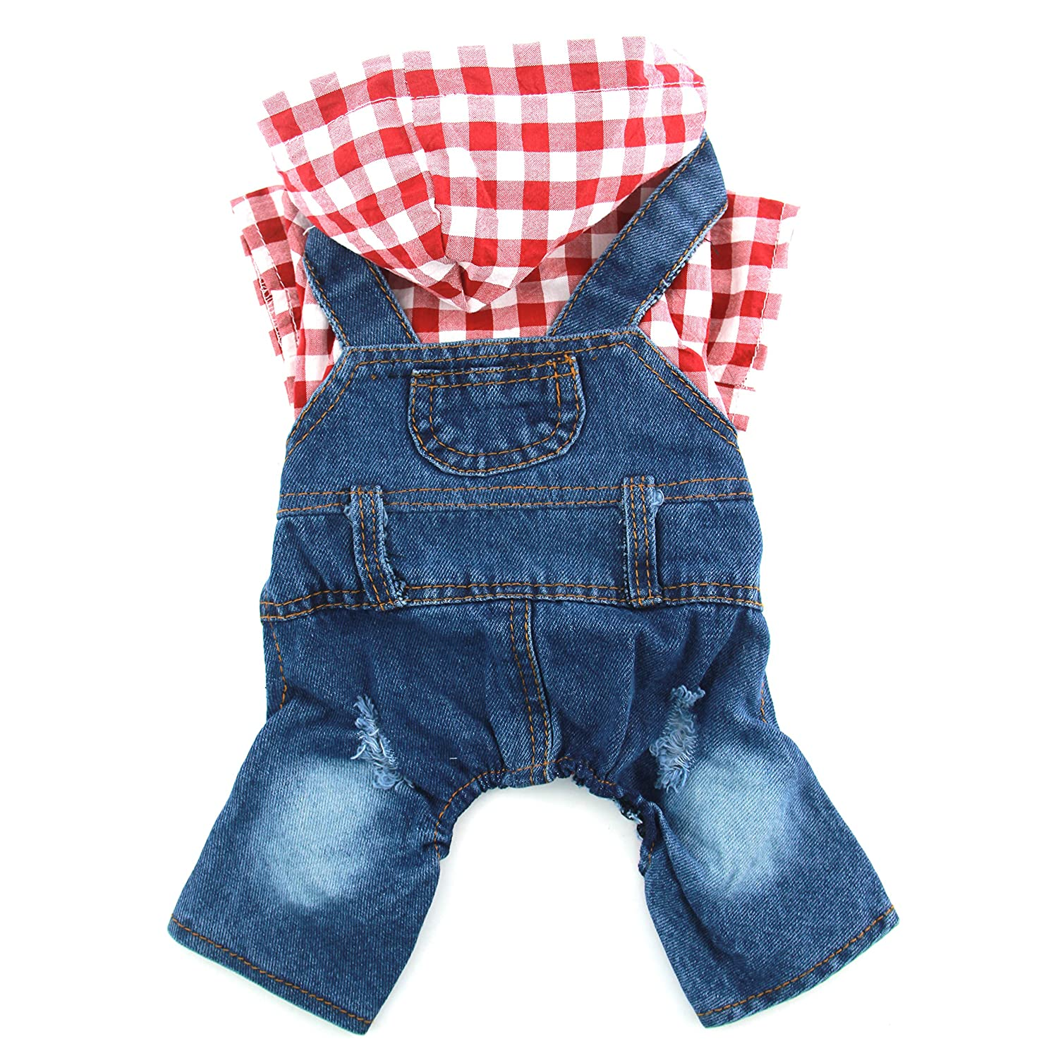 Red L(Back Length 11.81\ Red L(Back Length 11.81\ PETCARE Summer Pet Dogs Plaid Jean Jumpsuit Four Legged Dog Rompers Hoodies 2 colors Casual Style Clothes (L(Back Length 11.81 - Chest 17.72 ), Red)