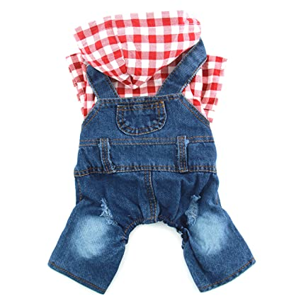 18e28d923c6 PETCARE Denim Plaid Pet Dog Jumpsuits Puppy Jeans Hoodies Classic Pink Blue  Four Feet Clothes Spring Warm Coat for Teddy Chihuahua Yorkies Casual  Sweatshirt ...