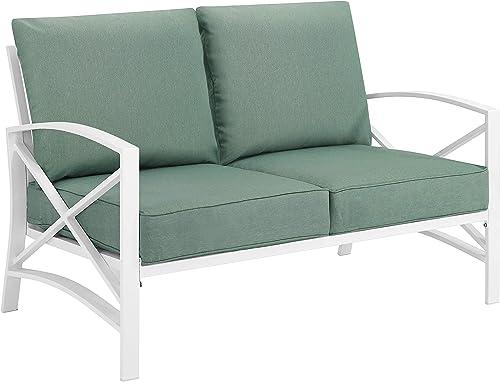 Crosley Furniture KO60008WH-MI Kaplan Outdoor Metal Loveseat, White with Mist Cushions