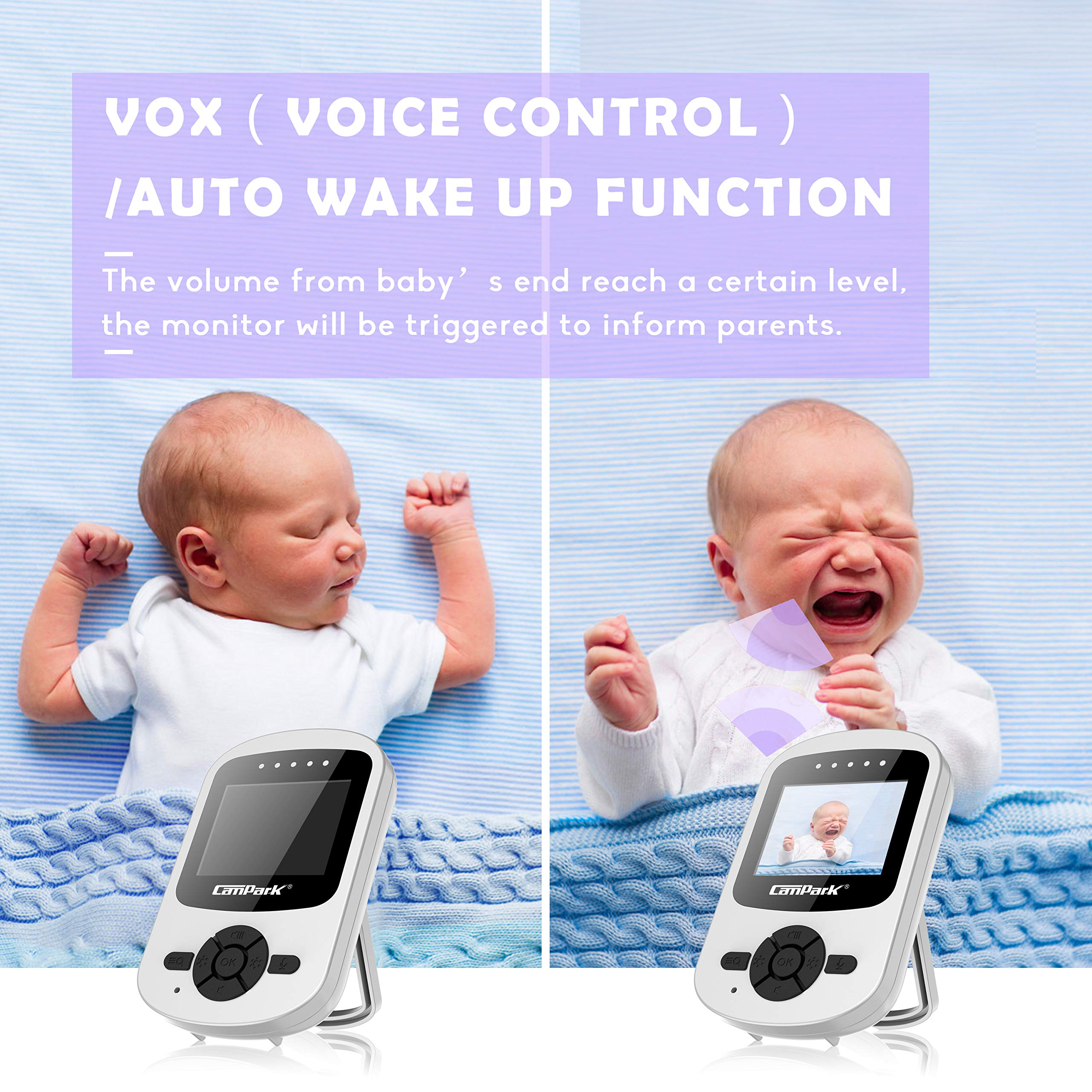 【2019 New Version】Campark Video Baby Monitor with Camera Infant Digital Cam Optics with Infrared Night Vision 2.4'' LCD 2.4GHz Wireless Transmission Two Way Talk Temperature Sensor VOX 4 in 1 Connect by Campark (Image #6)