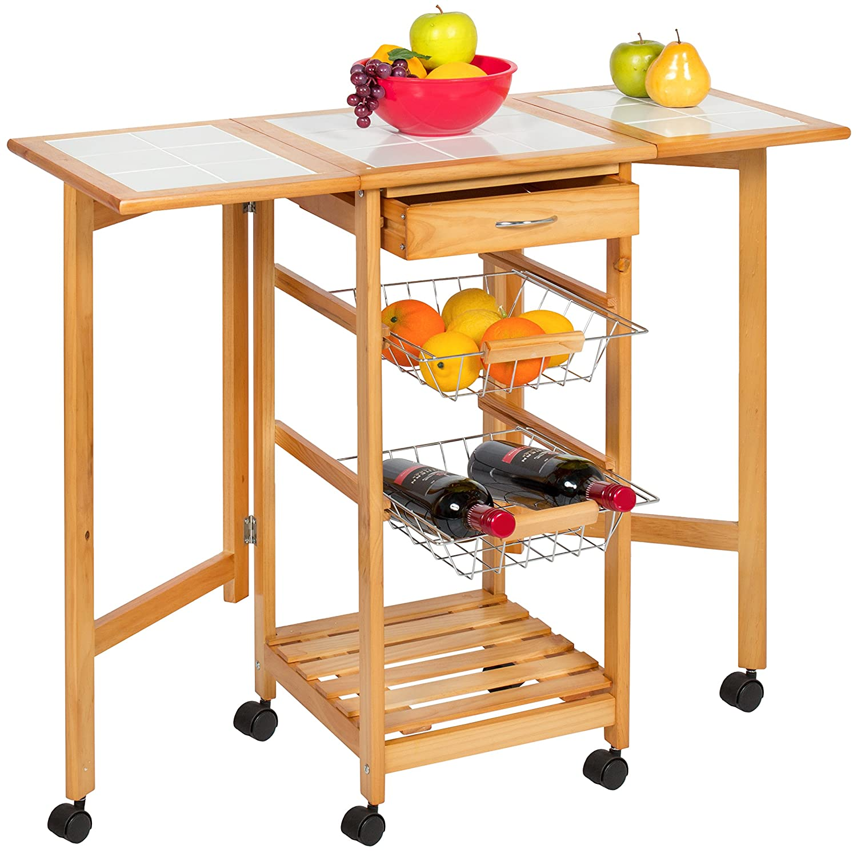 Folding Kitchen Island | Amazon Com Best Choice Products Portable Folding Tile Top Drop