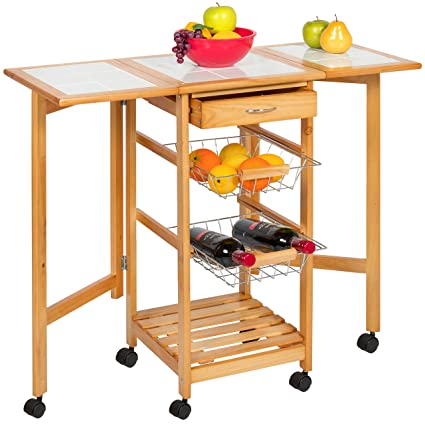 best choice products portable folding tile top drop leaf kitchen island cart table rolling trolley - Folding Kitchen Islands