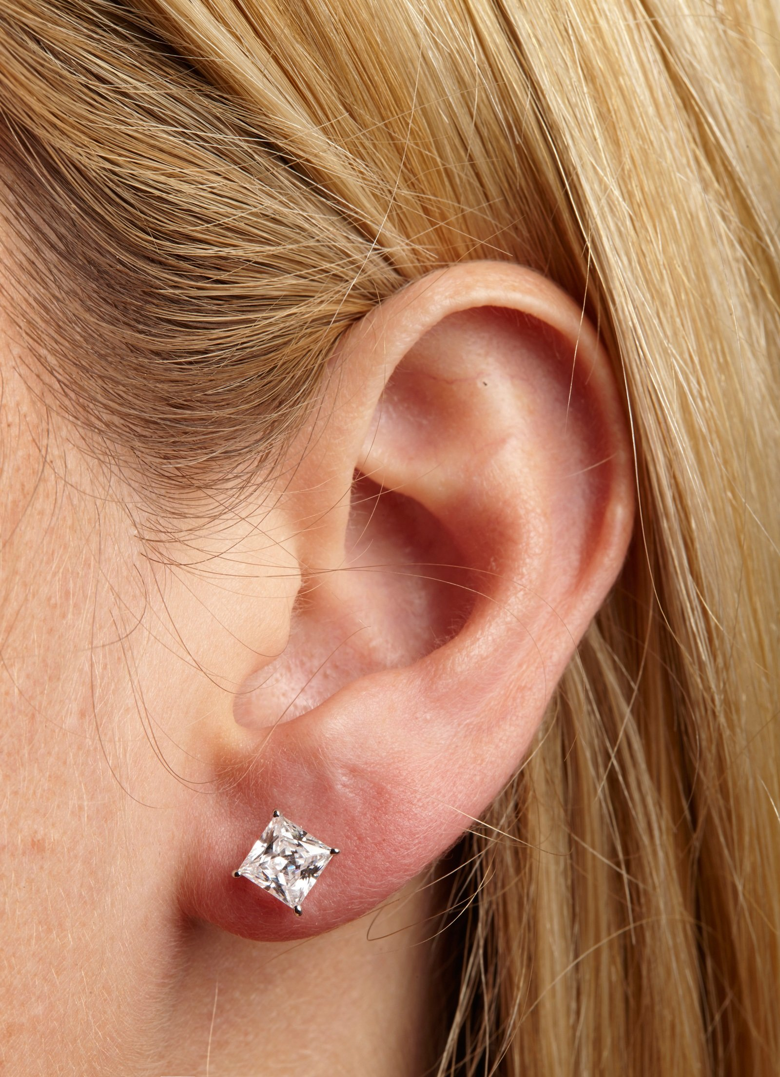 4.0 ctw Princess Brilliant Cut Simulated Diamond CZ Solitaire Stud Earrings in 14k White Gold Screw Back by Clara Pucci (Image #5)