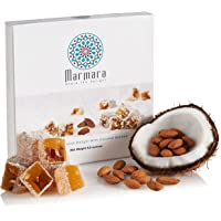 Turkish Delights with Almonds with Coconut Authentic Hand Made Gourmet Sweet Candy Box Dessert 8.8 ounce 12-16 Large 2 inch Confectionery Treats by Marmara