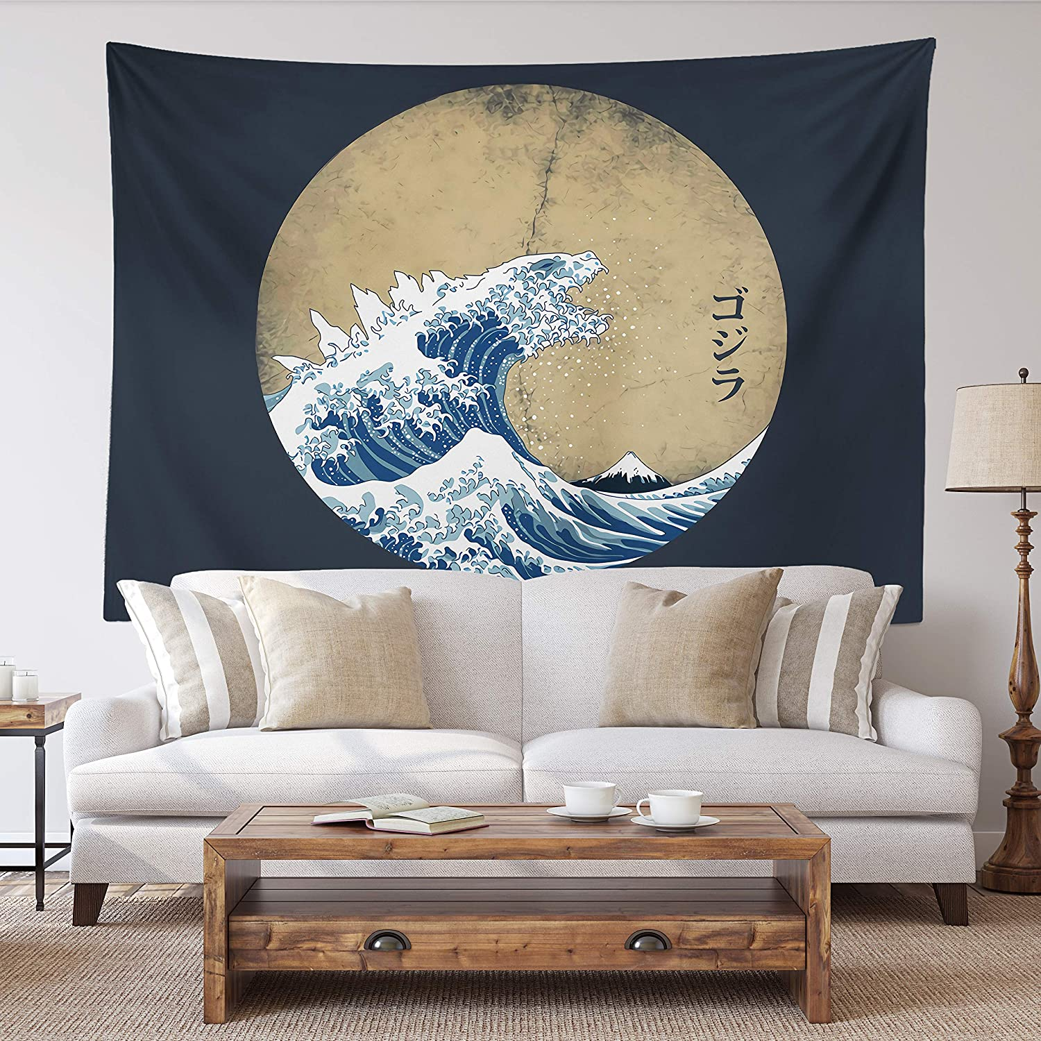 SPANKER SPACE Ukiyoe Blue and Navy Japanese Mythical Creature The Great Waves Godzilla Fabric Tapestry 59x79 inches Wall Hangings with Hanging Accessories for Home Dorm Wall Art Decor