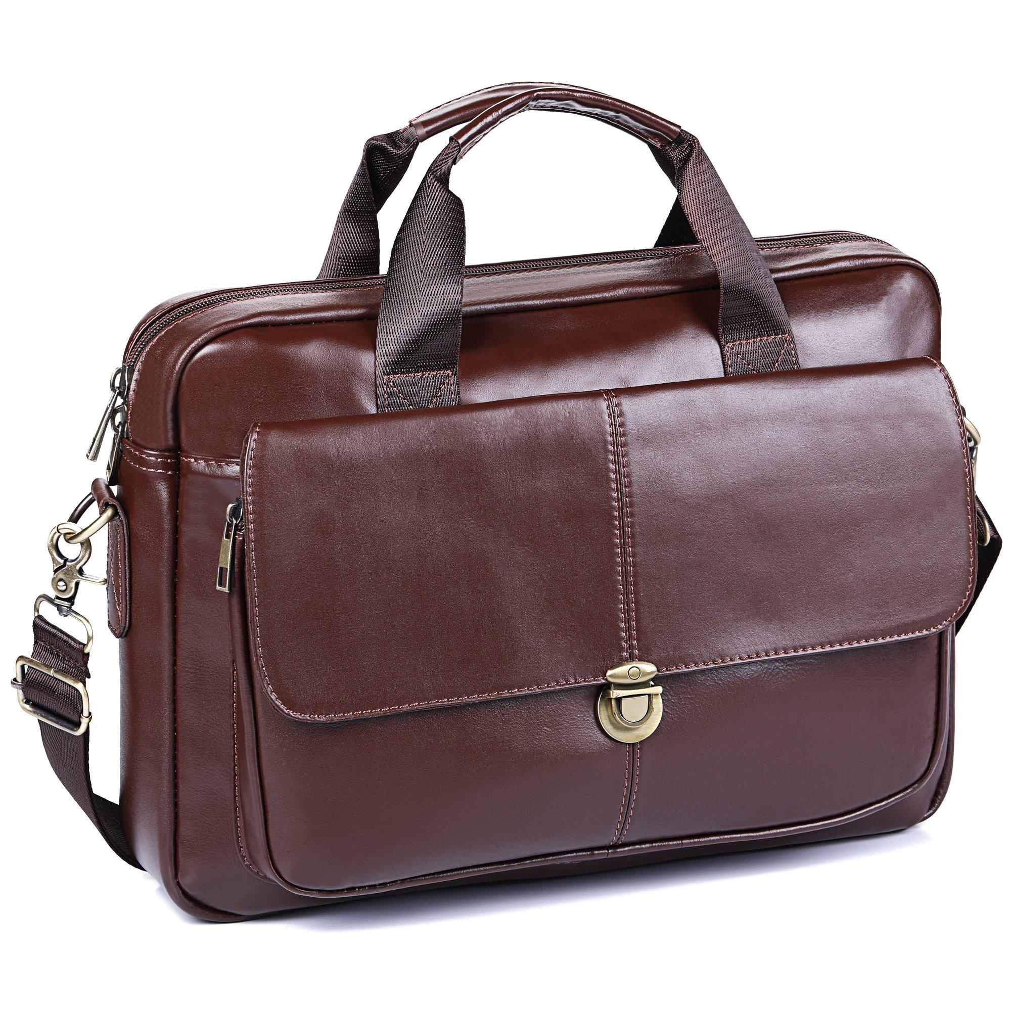 Men's Briefcase TECOOL Genuine Leather Laptop Business Shoulder Bag Messenger Bag Satchel Bag,Brown