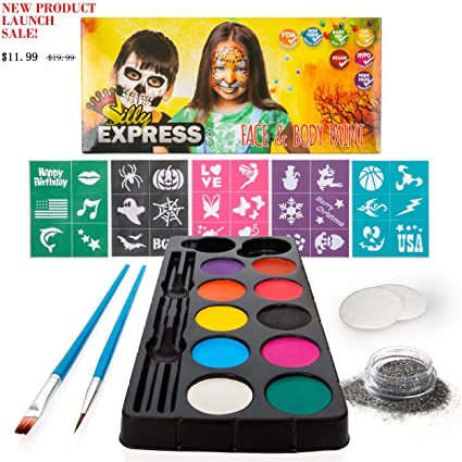 Amazon Com Silly Express Face Paint Kit For Kids 30 Stencils 10