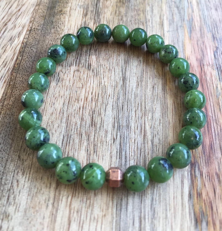 Canadian Nephrite Jade Authentic Nephrite Jade Green Jade High Quality 8mm Canadian Nephrite Jade Bracelet Mens Nephrite Jade Bracelet