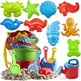 Prextex 19 Piece Beach Toys Sand Toys Set, Bucket with Sifter, Shovels, Rakes, Watering Can, Animal and Castle Molds in…