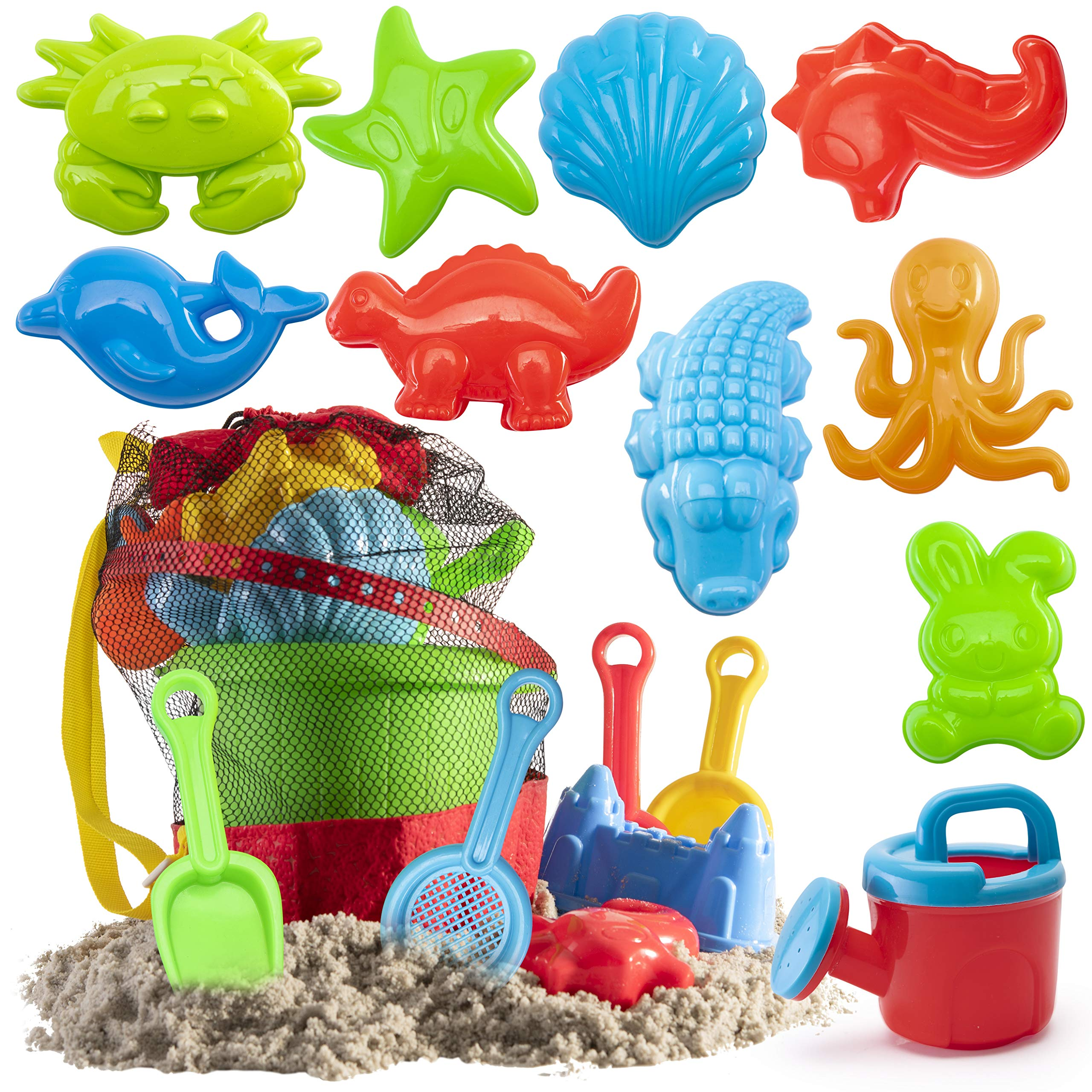 Prextex 19 Piece Beach Toys Sand Toys Set, Bucket with Sifter, Shovels, Rakes, Watering Can, Animal and Castle Molds in Drawstring Bag by Prextex