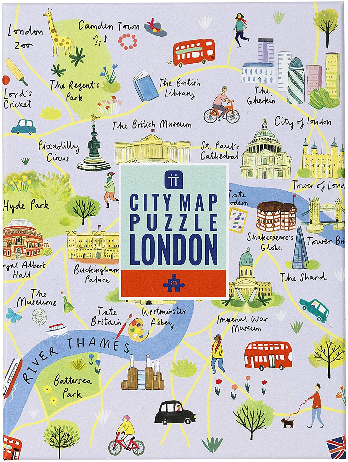 Amazon Com Talking Tables 250 Piece Map Of London Jigsaw Puzzle Poster Illustrated Uk England Landmarks Travel Rainy Day At Home Lockdown Birthday Present Wall Art Toys Games