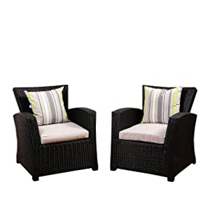 Atlantic Hibiscus Black Synthetic Wicker 2 Piece Armchair Set with Light Grey Cushions