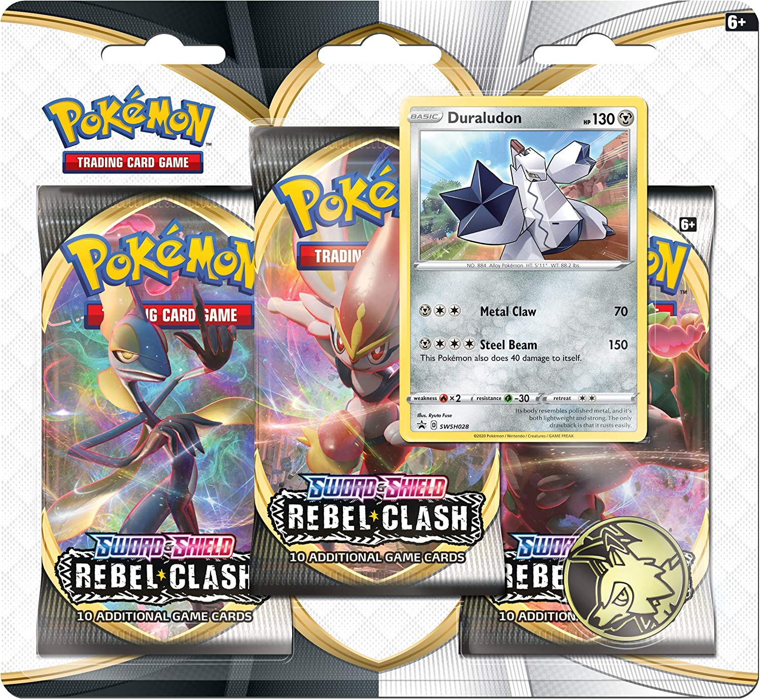 Pokemon TCG: Sword & Shield Rebel Clash Blister Pack with 3 Booster Packs  and Duraludon: Amazon.de: Toys & Games