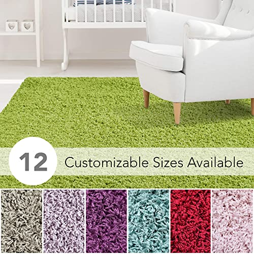 iCustomRug Affordable Shaggy Rug Dixie Cozy Soft Kids Shag Area Rug Solid Color Lime Green, for Children s Play Area, Bedroom or Nursery Carpet 4 Feet x 6 Feet 4 x 6